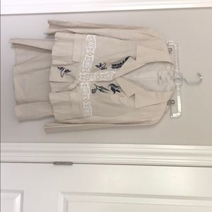 Prada linen skirt suit with beading detail